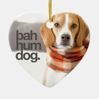 """Bah Hum Dog"" Beagle Ceramic Heart Ornament"