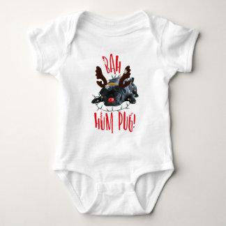 Bah Hum Pug Black Pug Christmas Reindeer Baby Bodysuit