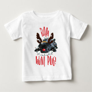 Bah Hum Pug Black Pug Christmas Reindeer Baby T-Shirt