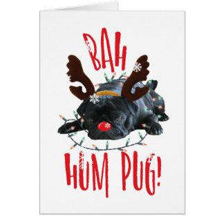 Bah Hum Pug Black Pug Christmas Reindeer Card
