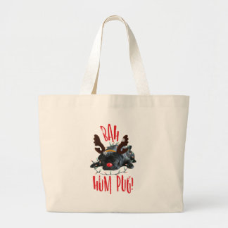 Bah Hum Pug Black Pug Christmas Reindeer Large Tote Bag
