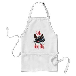 Bah Hum Pug Black Pug Christmas Reindeer Standard Apron