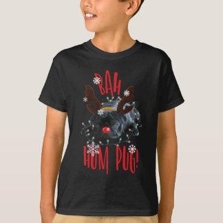 Bah Hum Pug Black Pug Christmas Reindeer T-Shirt
