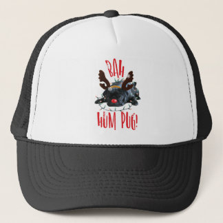 Bah Hum Pug Black Pug Christmas Reindeer Trucker Hat