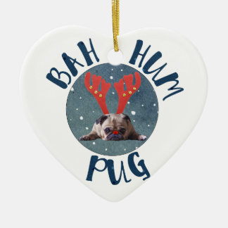 Bah Hum Pug Christmas Collection Ceramic Heart Ornament