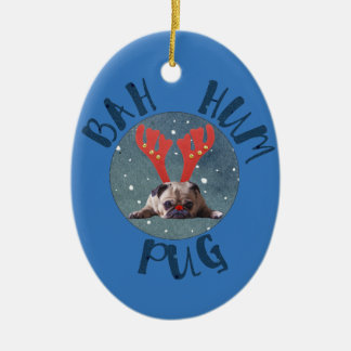 Bah Hum Pug Christmas Collection Ceramic Oval Ornament