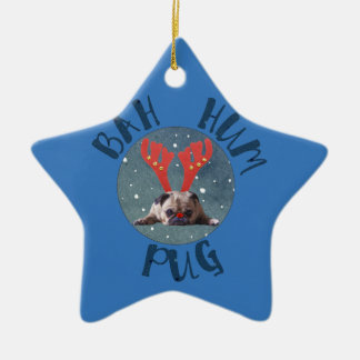Bah Hum Pug Christmas Collection Ceramic Star Ornament