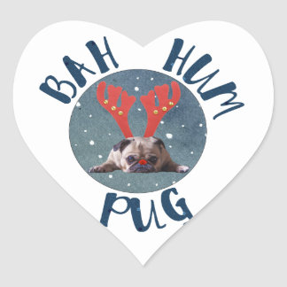 Bah Hum Pug Christmas Collection Heart Sticker