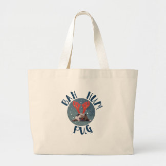 Bah Hum Pug Christmas Collection Large Tote Bag