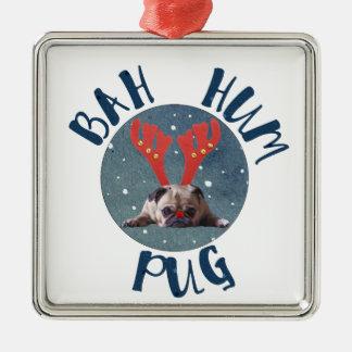 Bah Hum Pug Christmas Collection Metal Ornament