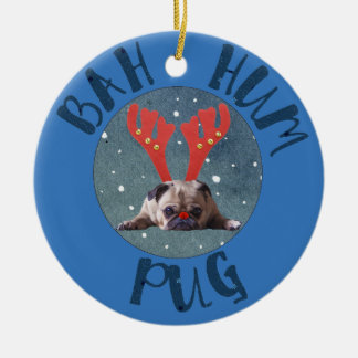 Bah Hum Pug Christmas Collection Round Ceramic Ornament