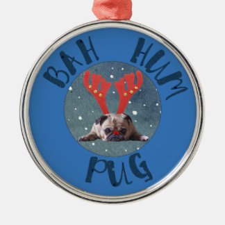 Bah Hum Pug Christmas Collection Silver-Colored Round Ornament
