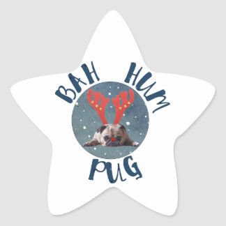Bah Hum Pug Christmas Collection Star Sticker