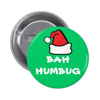 Bah Humbug and Santa Hat Grumpy Christmas Holiday 2 Inch Round Button