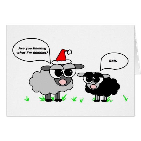 Bah Humbug - Black and Grey Sheep Holiday Card