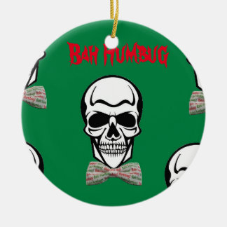 Bah Humbug de Morte Round Ceramic Ornament