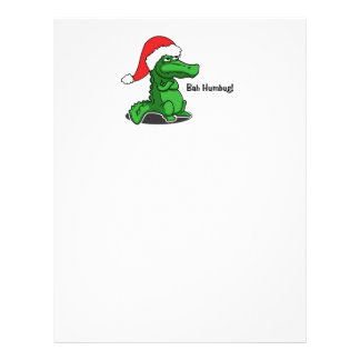 Bah Humbug! Fun, Alligator with Santa hat Customized Letterhead