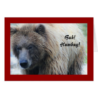 Bah! Humbug! Grizzly Bear Holiday Notecard