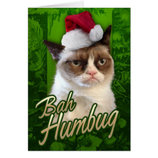 Bah Humbug Grumpy Cat Greeting Card