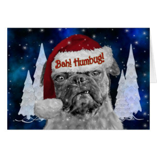 Bah Humbug Holiday Pug Dog Card