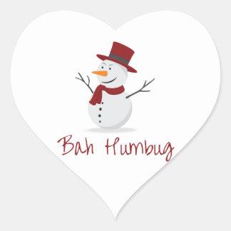 Bah Humbug -  Mischievous Snowman  - Christmas Heart Sticker