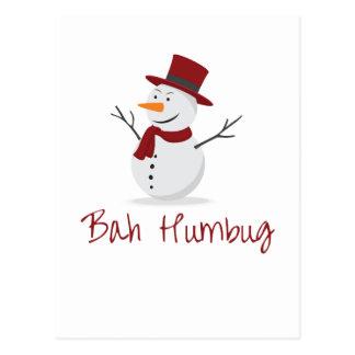 Bah Humbug -  Mischievous Snowman  - Christmas Postcard