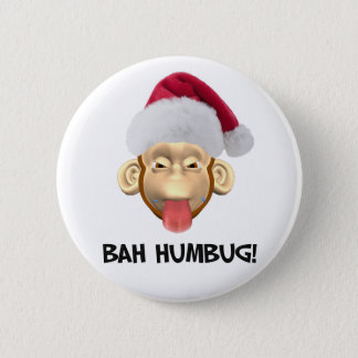 Bah Humbug Monkey button