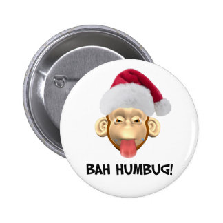 Bah Humbug Monkey button