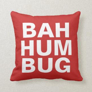 BAH HUMBUG - white on red Throw Pillow