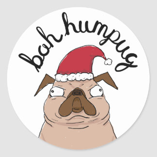 Bah Humpug Christmas Santa Pug Classic Round Sticker