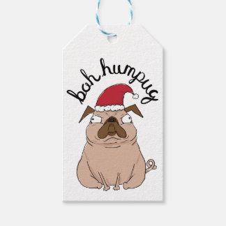 Bah Humpug Christmas Santa Pug Gift Tags