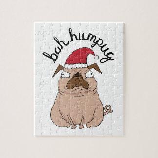 Bah Humpug Christmas Santa Pug Jigsaw Puzzle
