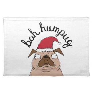 Bah Humpug Christmas Santa Pug Placemat