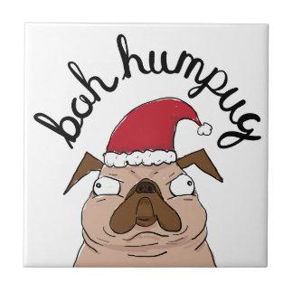 Bah Humpug Christmas Santa Pug Tile