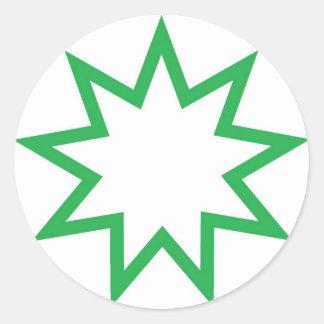 Bahai star green classic round sticker