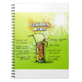 Bahama Mama Drink- Cocktail Gift Spiral Note Book