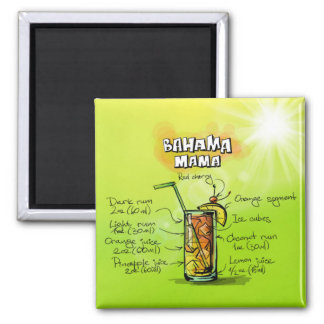 Bahama Mama Drink- Cocktail Gift Square Magnet