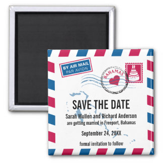 Bahamas Air Mail Wedding Save the Date Square Magnet