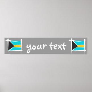 Bahamas Brush Flag Banner Poster