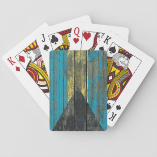 Bahamas Flag on Rough Wood Boards Effect Playing Cards