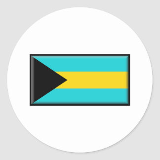 Bahamas Flag Round Sticker