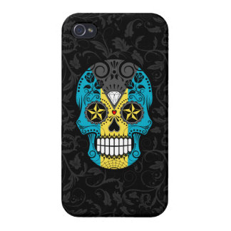 Bahamas Flag Sugar Skull with Roses Cases For iPhone 4