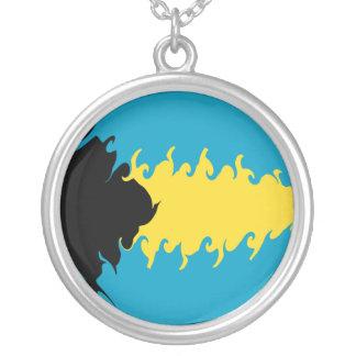 Bahamas Gnarly Flag Round Pendant Necklace
