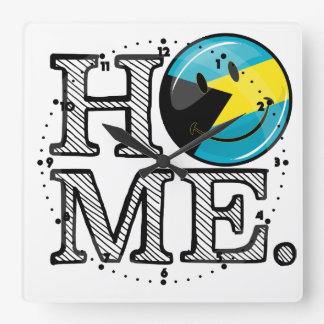 Bahamas is Home Smiling Flag House Warmer Square Wall Clock