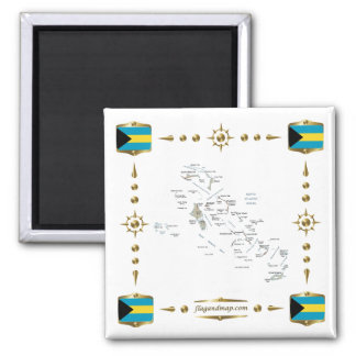 Bahamas Map + Flags Magnet