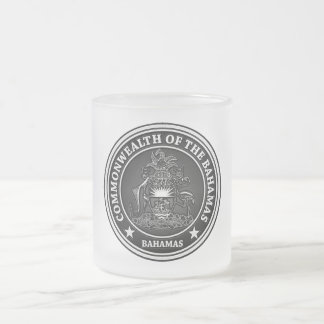 Bahamas Round Emblem Frosted Glass Coffee Mug