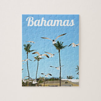 Bahamas Seagulls flying over blue skies Puzzle
