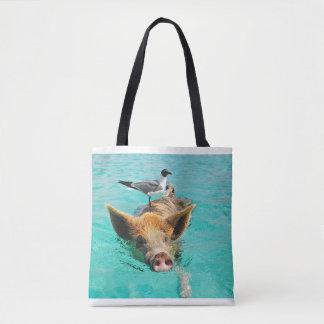Bahamas Swimming Pig and Seagull Tote Bag