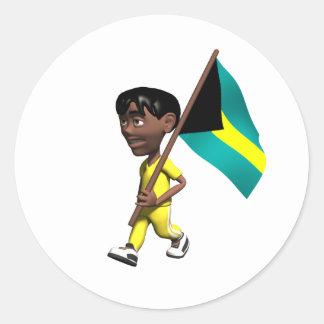 Bahamian Boy Classic Round Sticker