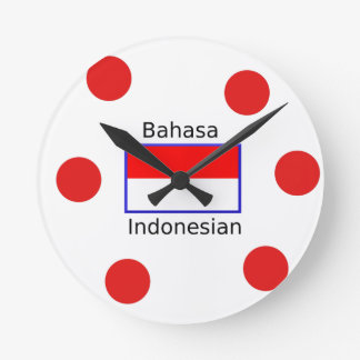 Bahasa Language And Indonesian Flag Design Round Clock